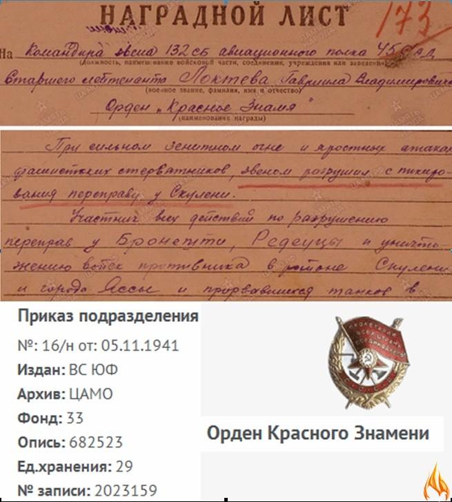 Фрагменты Наградного листа, Описания подвига и Приказа подразделения о награждении Локтева Г.В. орденом Красного Знамени